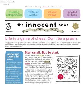 A typical newsletter from Innocent